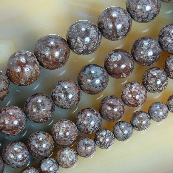Natural Coffee Jasper Gemstone Round Loose Beads on a 15.5