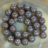 "Natural Coffee Jasper Gemstone Round Loose Beads on a 15.5"" Strand"