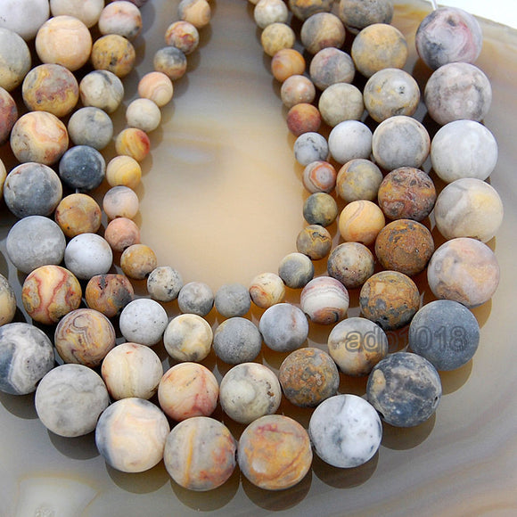 Matte Natural Crazy Lace Agate Gemstone Round Loose Beads on a 15.5