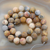 "Matte Natural Crazy Lace Agate Gemstone Round Loose Beads on a 15.5"" Strand"