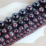 "Natural Dark Red Garnet Gemstone Round Loose Beads on a 15.5"" Strand"