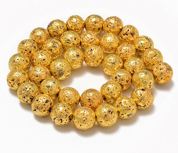 AD Beads 6mm 8mm 10mm Metallic Titanium Coated Rock Lava Gemstones Round Beads 15