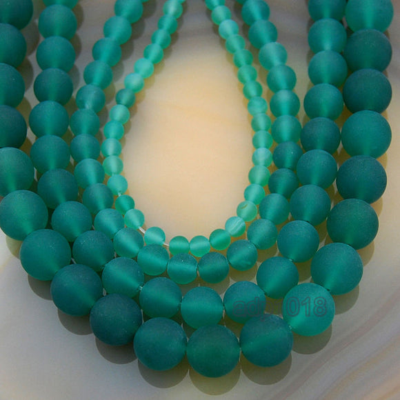 Matte Natural Green Agate Gemstone Round Loose Beads on a 15.5