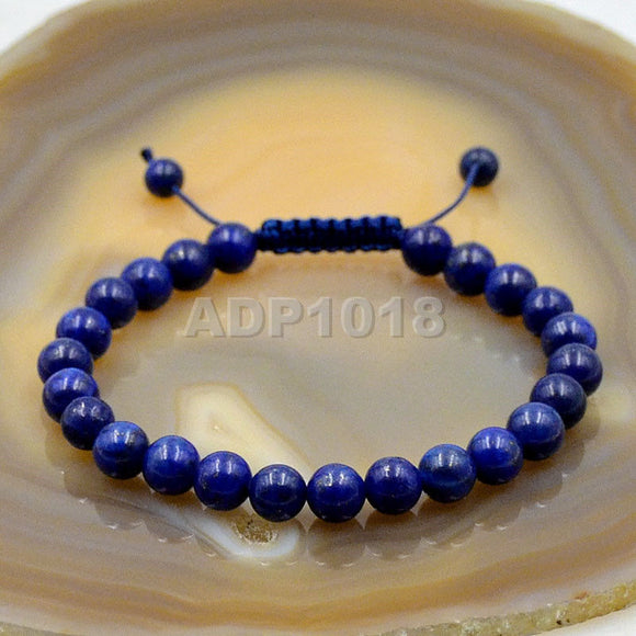 Natural Lapis 8mm Gemstone Healing Power Crystal Adjustable Macrame Bracelet
