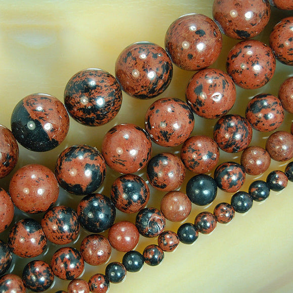 Natural Mahogany Obsidian Gemstone Round Loose Beads on a 15.5
