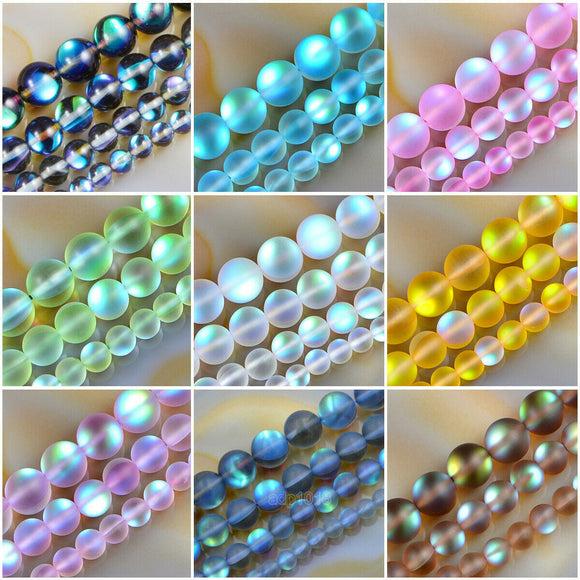 6mm -12mm Enhanced Round Moonstone & Labradorite Matte Crystal Glass Beads 16