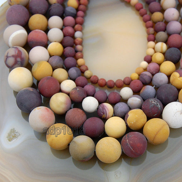 Matte Natural Moukaite Jasper Gemstone Round Loose Beads on a 15.5