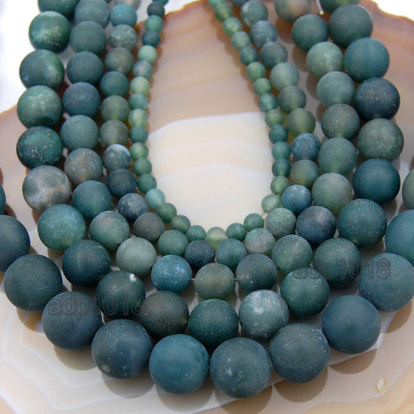 Matte Natural Moss Agate Gemstone Round Loose Beads on a 15.5