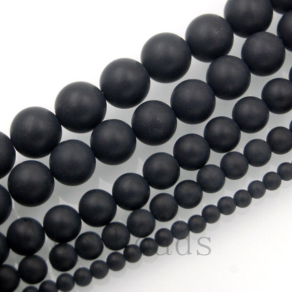 Matte Natural Black Onyx Gemstone Round Loose Beads on a 15.5