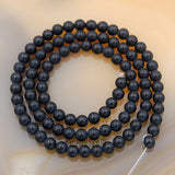 "Matte Natural Black Onyx Gemstone Round Loose Beads on a 15.5"" Strand"