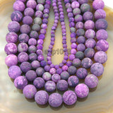 "Matte Natural Purple Jasper Gemstone Round Loose Beads on a 15.5"" Strand"