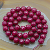 "Faceted Ruby Jade Round Gemstone Loose Beads 15"" 4mm 6mm 8mm 10mm 12mm"