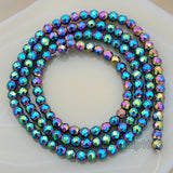 "Natural Faceted Hematite Gemstone Round Spacer Beads 16"" 3mm 4mm 6mm 8mm 10mm"