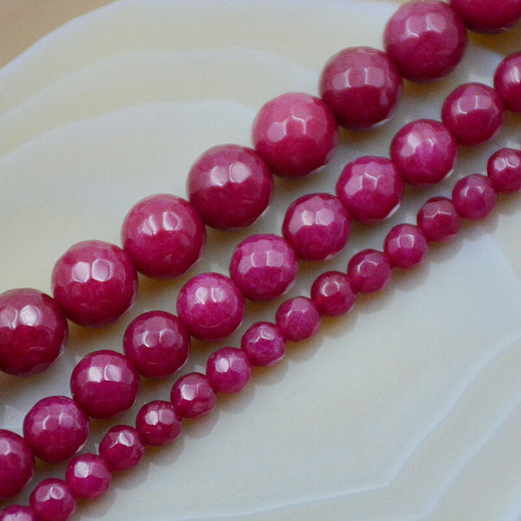 Faceted Ruby Jade Round Gemstone Loose Beads 15