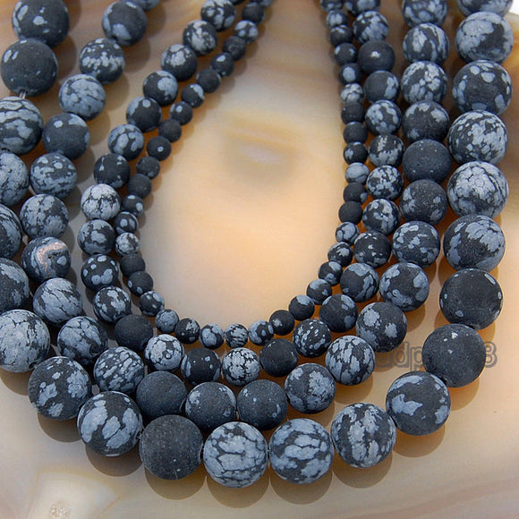 Matte Natural Snow Flake Jasper Gemstone Round Loose Beads on a 15.5