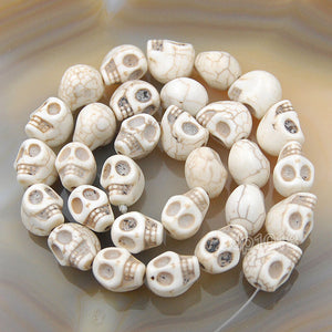 "Howlite Turquoise Carved Skull Loose Spacer Beads 16"" Pick"
