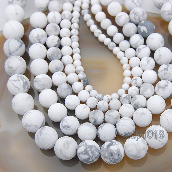 Matte Natural White Turquoise Gemstone Round Loose Beads on a 15.5