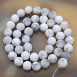"Matte Natural White Turquoise Gemstone Round Loose Beads on a 15.5"" Strand"