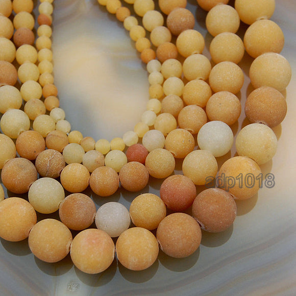 Matte Natural Yellow Aventurine Gemstone Round Loose Beads on a 15.5