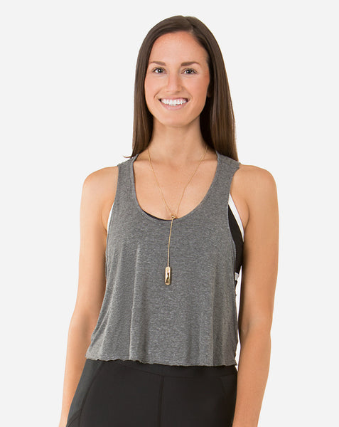 Joah Brown Half Moon Crop Tank Top