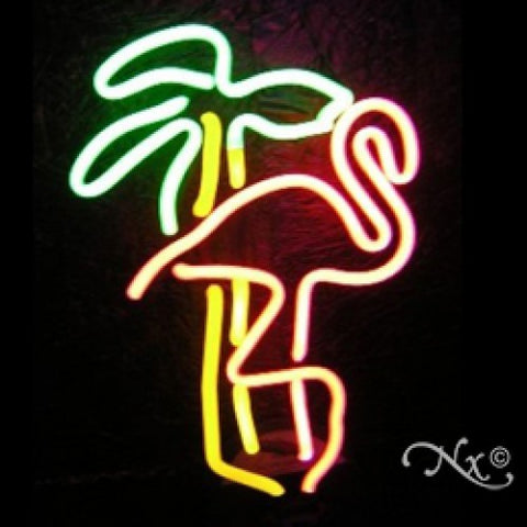 Neon Sculpture Flamingo Palm