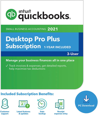 Intuit QuickBooks Desktop Pro Plus 2021 - 3 User License (1 year subscription)