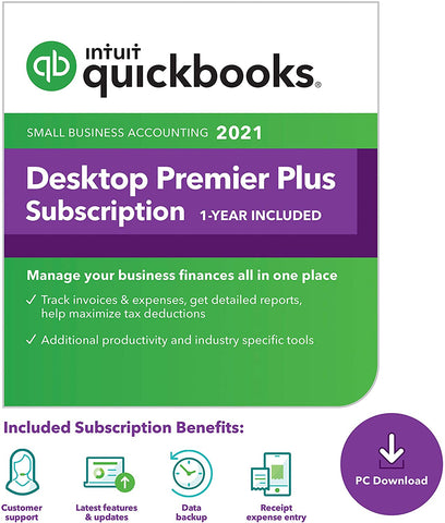 Intuit QuickBooks Desktop Premier Plus 2021 - 1 User License (1 year subscription)