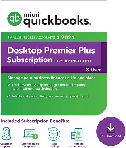 Intuit QuickBooks Desktop Premier Plus 2021 - 3 User License (1 year subscription)