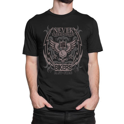 Never Underestimate Bikers Fast Free T-Shirt