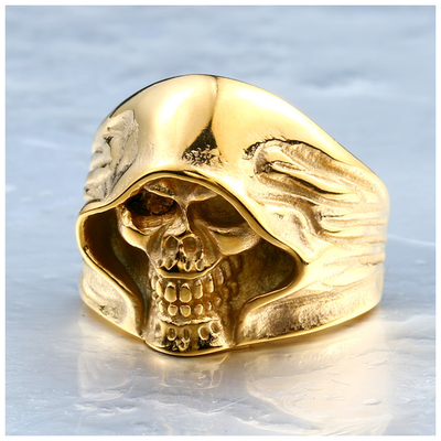 Classic Biker Gear Hell Death Skull Biker Ring