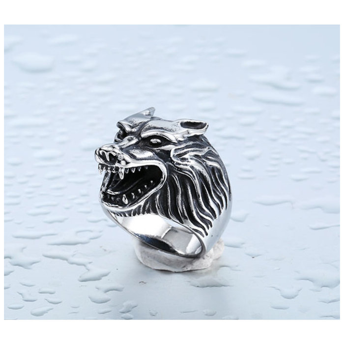 Stainless Steel Black Wolf Biker Ring