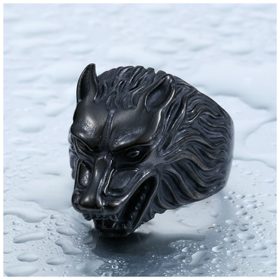 Classic Biker Gear Stainless Steel Black Wolf Biker Ring