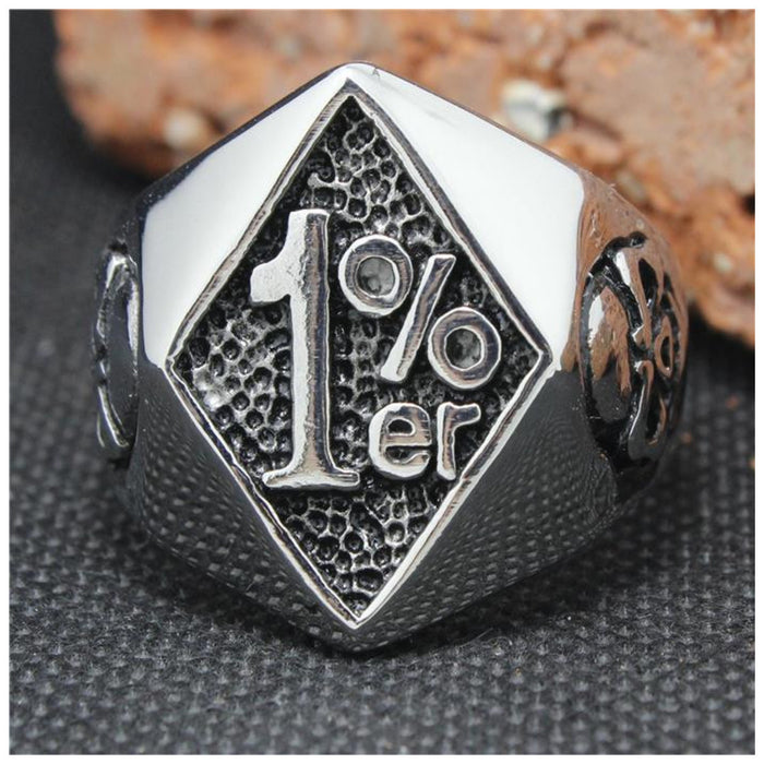Stainless Steel Silver 1%er Biker Ring