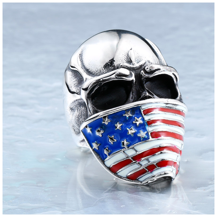 Stainless Steel Skull American Flag Biker Ring