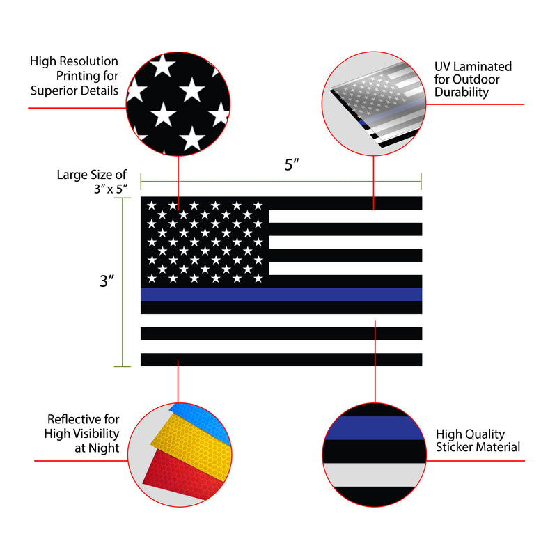 Reflective Thin Blue Line Flag Decal - 3x5 in. American USA Flag Decal for Cars and Trucks, Support Police and Law Enforcement Officers