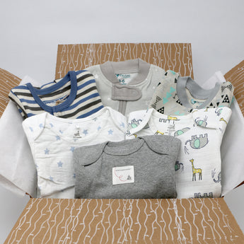 Small boutique baby boy clothing bundle - 3 pajamas, 3 onesies