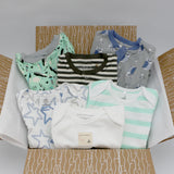 Boutique baby boy clothing bundle 6-9 months - 3 pajamas, 3 onesies