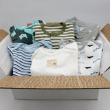 Small boutique baby boy clothing bundle 9-12 months - 3 pajamas, 3 onesies