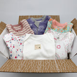 Boutique baby girl clothing bundle 0-3 months - 3 pajamas, 3 onesies