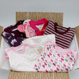 Small boutique baby girl clothing bundle 9-12 months - 3 pajamas, 3 onesies