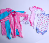 Baby Girl Clothing Subscription - 3 pajamas, 3 onesies, and 3 pairs of socks