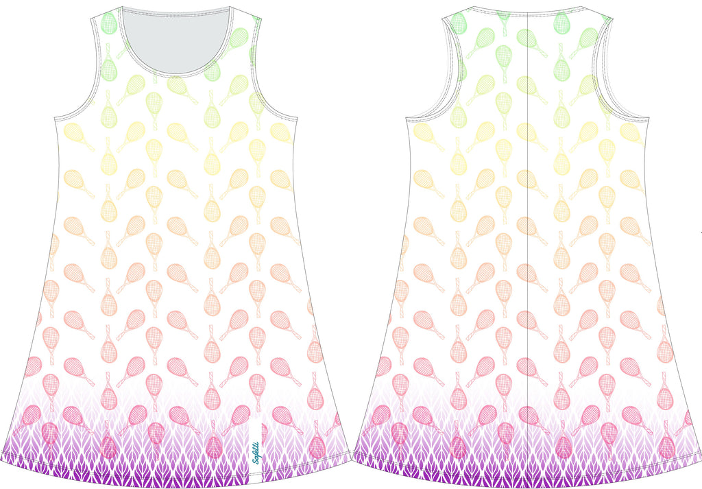 VENEZ -Dress -White & Purple- Tennis