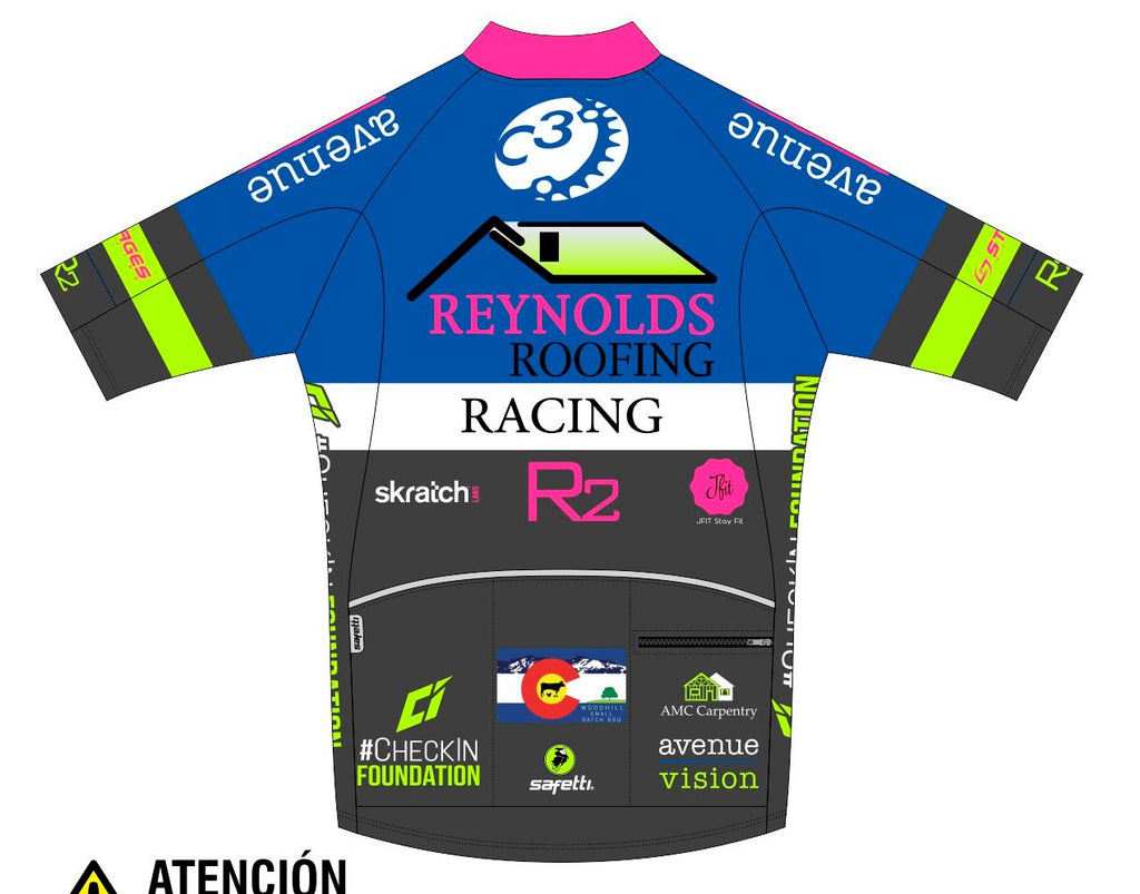 Reynolds Roofing - Blue Carrara Short Sleeve Cycling Jersey. Men