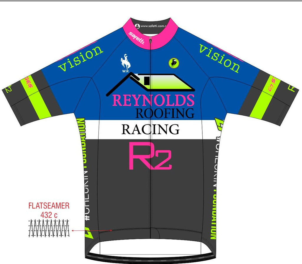 Reynolds Roofing - Blue Lombardia Short Sleeve Cycling Jersey. Men
