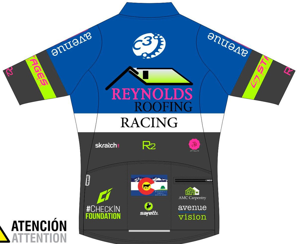 Reynolds Roofing - Blue Lombardia Short Sleeve Cycling Jersey. Women