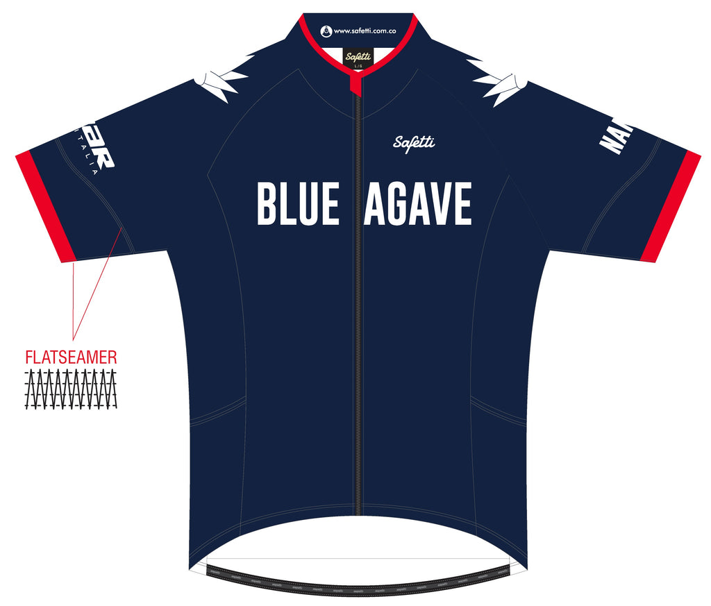 Blue Agave Cycling - DSG4 Blue/Red. Dogliani Short Sleeve Cycling Jersey. Women