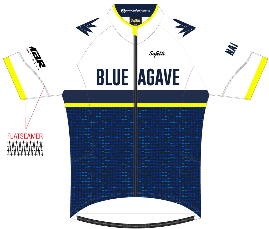Blue Agave Cycling - DSG3 White. Dogliani Short Sleeve Cycling Jersey. Men