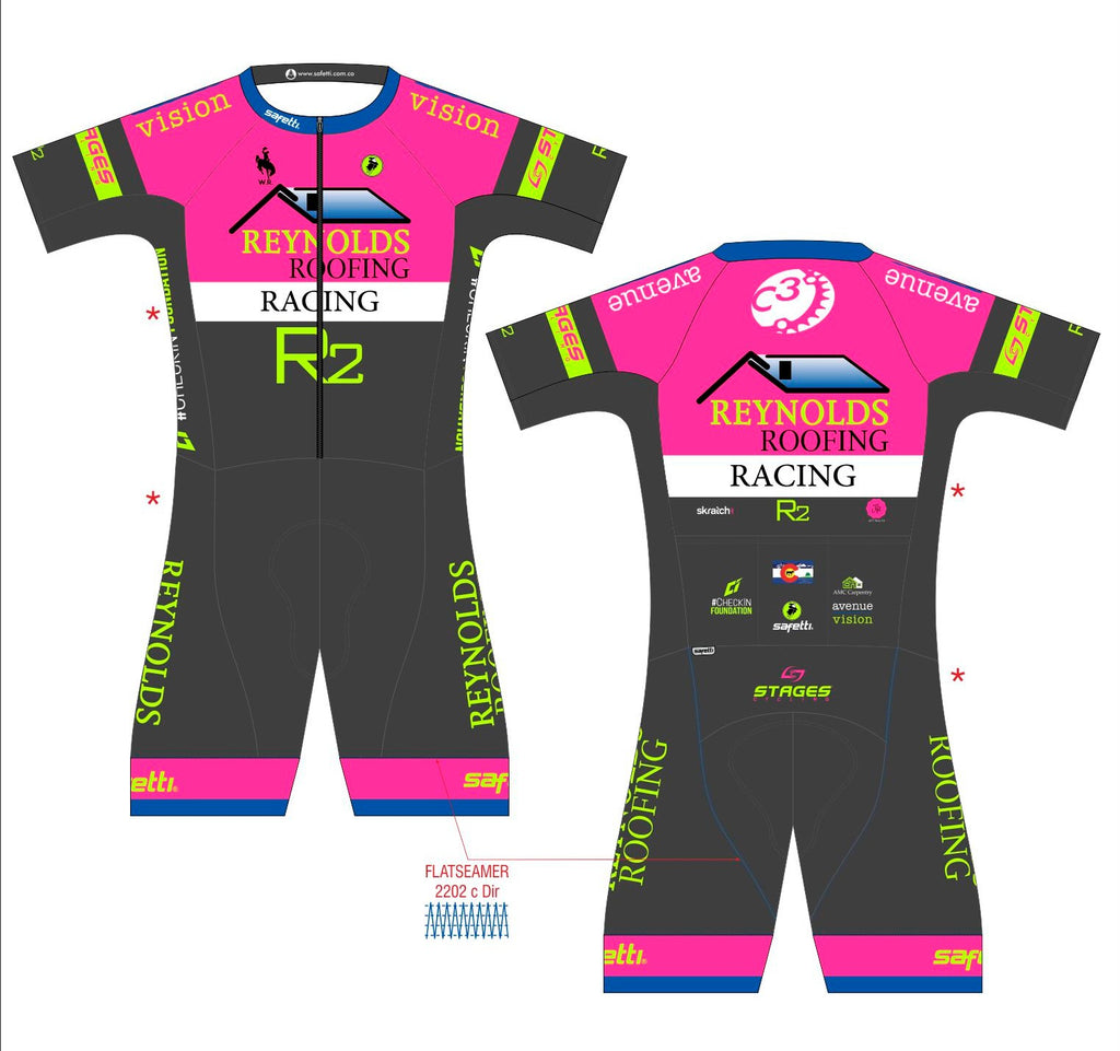 Reynolds Roofing - Cycling Speed Pink Skinsuit. Men