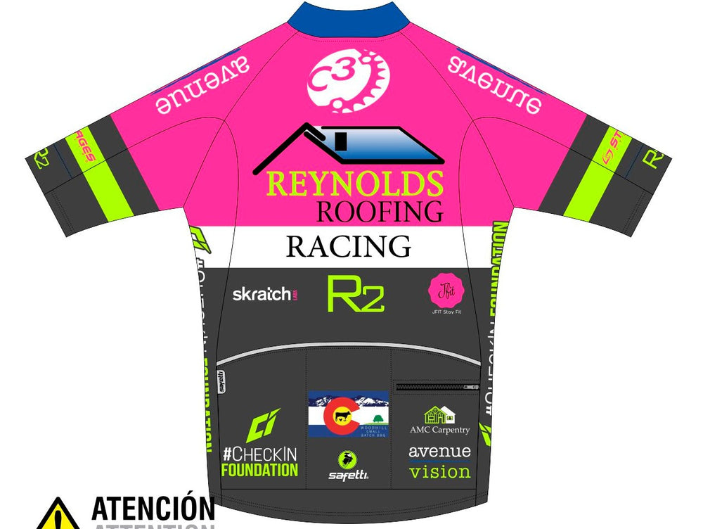 Reynolds Roofing - Pink Carrara Short Sleeve Cycling Jersey. Men