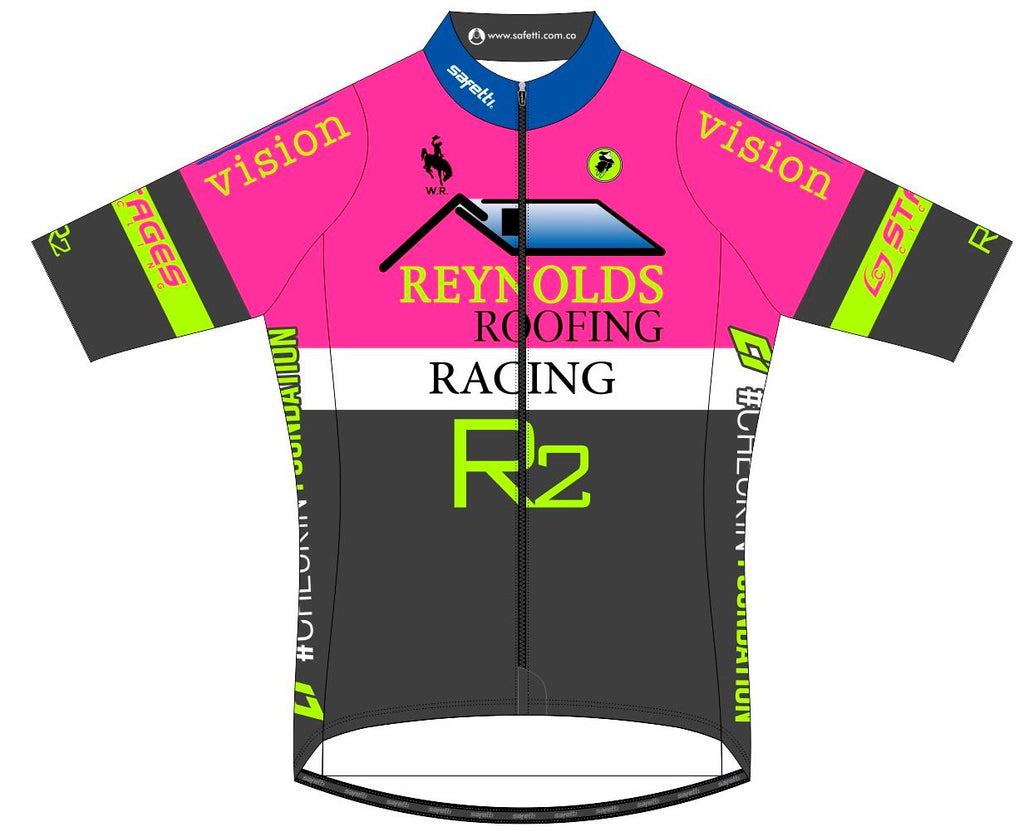Reynolds Roofing - Pink Lombardia Short Sleeve Cycling Jersey. Men
